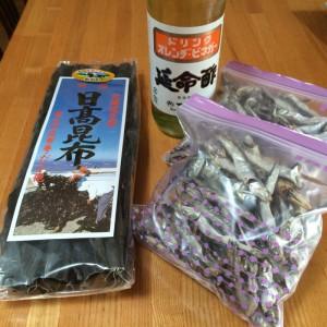 Maiさんの御実家からのいりこ、義母からのお酢&昆布